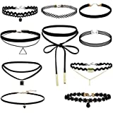 Bullidea 10 Pcs Choker Necklace for Women Girls, Black Classic Velvet Stretch Gothic Tattoo Lace-BEST DECORATION for Summer D