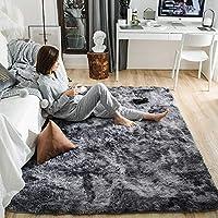 YJ.GWL 洗える ラグ 2畳 ラグマット カーペット シャギーラグ 絨毯 120 x 160cm 滑り止め付き ふわふわ サラサラ 長方形 夏 床暖房対応 丸洗いもOK グレー