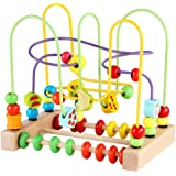 Bead Maze Toy for Toddlers Wooden Colorful Roller Coaster Educational Circle Toys for Kids Sliding Beads On Twists Wire Train