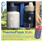 Thermoflask Stainless Steel Kids 14oz Straw Bottle 2pk HarborGrey,Denim