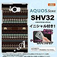 SHV32 スマホケース AQUOS SERIE カバー アクオス セリエ ソフトケース イニシャル エスニックゾウ 黒 nk-shv32-tp1571ini M