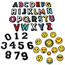 アルファベットA-Z Emoji 笑顔表情 数字 刺繍ワッペン アイロン接着 49枚セット アイロン ワッペン 刺繍 男の子 女の子 かわいい かっこいい 入園 入学 マーク 幼稚園 保育園 小学校 アップリケ ギフト イニシャル シンプル お名前 名入れ (全種類)