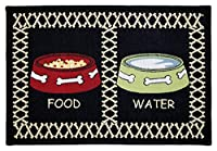 PB PAWS PET COLLECTION BY PARK B. SMITH Meal Time Tapestry Indoor Outdoor Pet Mat, Multi/Black, 13 x 19 by Park B. Smith