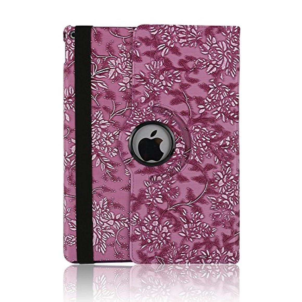 課税永久葉っぱケース ipad 手帳型、SIMPLE DO 360度回転式 スタンド機能 三つ折り 軽量 持ち運び便利 耐衝撃 レディース 女子 人気 おしゃれ 通勤 iPad Air 2 9.7インチ対応(パープル)