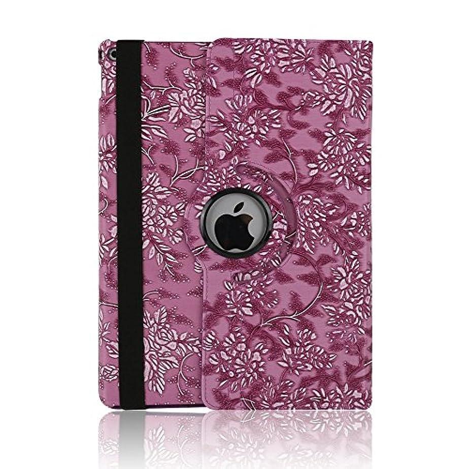 公然とトランクライブラリ悪いケース ipad 手帳型、SIMPLE DO 360度回転式 スタンド機能 三つ折り 軽量 持ち運び便利 耐衝撃 レディース 女子 人気 おしゃれ 通勤 iPad Air 2 9.7インチ対応(パープル)