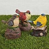 国華園 鳴き声ポリ製オーナメント さえずり小鳥セット 3個1組 幅7×奥行9.5×高さ10cm トリ 鳴く センサー付き