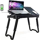 Bingyee Laptop Table for Bed Multi-Functional Laptop Desk Adjustable Desk Riser, Standing Desk Sit to Stand Desktop with Cool