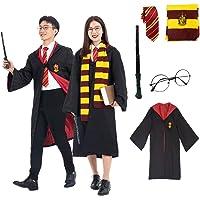 ハリーポッター コスプレ マント 赤 Harry Potter 衣装 ローブ フード付き ネクタイ 魔法の杖 メガネ マ…