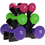 3 Pair Hand Weights, Colorful Dumbbell Hand Exercise Fitness Weights Set with Rack Stand Holder 2lb 3lb 5lb