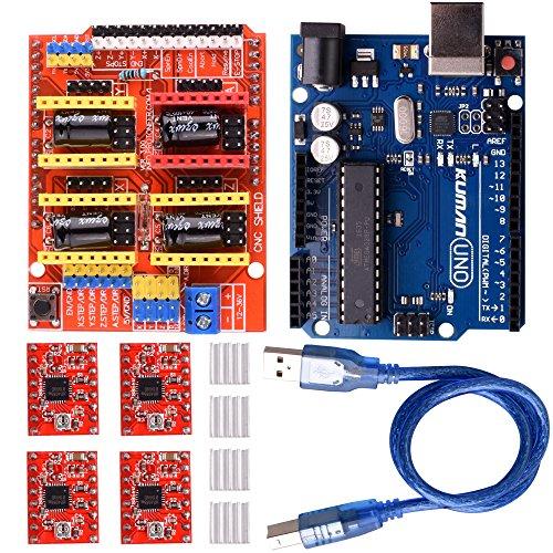 Kuman 5 in 1 3Dプリンター CNCキット Arduinoに交換 Arduino UNO R3ボード+CNCシールドV3+A4988ドライバ+ヒートシンク GRBL 0.9交換 実験用 電作キット K75