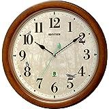 リズム(RHYTHM) 掛け時計 茶 Φ33.6x6.3cm 電波 アナログ 連続秒針 メロディ 日本野鳥の会 共同開発 8MN408SR06