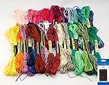 刺繍糸 25番 50色 8m 50束 6本綴 300本 糸通し不要 刺繍針セット