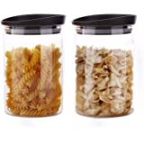 MIOCARO Glass Food Storage Containers Jar Plastic Lids 2 Packs 1000ml Airtight Canister Organization Sets Stackable