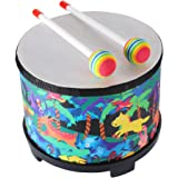 Floor Tom Drum for Kids 8 inch Montessori Percussion Instrument Music Drum Toys with 2 Mallets for Baby Children Special Chri
