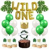 1歳 誕生日 飾り セット 緑系 野外 人工葉 アルミバルーン 風船 ラテックスバルーン ケーキピック ケーキトッパー バースデークラウン 59枚セット