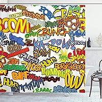 Amxxy レトロコミック式ユーモアアイコン漫画悲鳴クラッシュ捕虜レトロデザイン浴室装飾シャワーカーテン耐久性のある掃除しやすい防水生地浴室シャワーホテルに適した