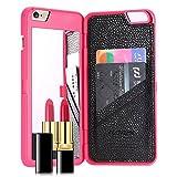 FLOVEME iPhone6s ケース / iPhone6 ケース鏡付き ミラー付き カード収納 スタンド付きアイフォン6s / 6 用 カバー ローズ