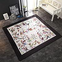 カーペットの絨毯冬のヴィンテージ宮殿のスタイルのリビングルームのベッドルームマットベッドルームの滑り止め (Size : 150×150cm, Style : H-1)