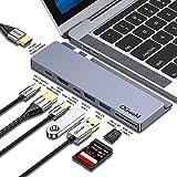 USB Cハブ、QGeeM MacBook Proハブ、9-in-2デュアル4K HDMIドッキングステーション、デュアルPDポート、SD / TFカードリーダー、多機能USB-Cポートと互換性、USB-Aポートを装備、MacBook Pro 201