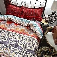 LELVAボヘミアン寝具セットエスニックエキゾチックスタイル寝具布団カバーセット4 PieceコットンBoho寝具セット クイーン DD-205