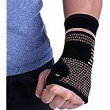 Compression Copper Sports Wrist Brace Hand Support Palm Sleeve Compression Gloves Carpal Tunnel Therapy Sprain Strain, Rheuma