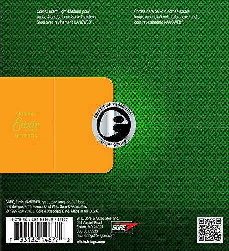 Elixir エリクサー ベース弦 NANOWEB ステンレス Long Scale Light/Medium .045-.105 #14677 【国内正規品】