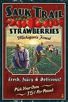 Sauk Trail、ミシガン州–Strawberryファーム–Vintage Sign 24 x 36 Giclee Print LANT-76502-24x36