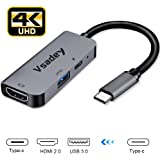 USB Type C HDMI アダプタ Vsadey タイプC 4K 解像度 HDMI2.0ポート+USB 3.0高速ポート+USBタイプC高速PD充電ポート 3in1 typec hdmi 変換アダプタ UHD コンバータ MacBook/MacBook Pro/iPad Pro2018/Nintendo Switch/Chromebook/USB C デバイス 対応