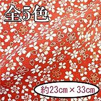 【INAZUMA】ちりめん金彩はぎれ/カットクロス 約23×33cm 桜柄 AT-3-1G 赤