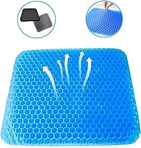 ゲルクッション 二重 クッションカバー2枚付き 腰楽クッション 両面使用可能 腰痛対策 無重力 体圧分散 椅子 車 オフィス 自宅用 (水色)