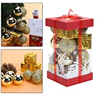 SIKIWIND クリスマス ボール 飾り オーナメント 可愛いツリー飾り パーティー (ゴールド)