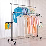 Hershii Clothes Garment Rack on Wheels Heavy Duty Double Rail Adjustable Extendable Rods Rolling Laundry Drying Rack Hanging