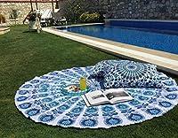 Traditional Jaipur インドラウンドキーマンダラスロー、ボヘミアンタペストリー、ヒッピー壁掛け、ラウンドビーチタオル、ボホピクニックブランケット、ジプシーテーブルクロス、丸いヨガマット, Indian Tapestry, Round Mandala Beach Towel