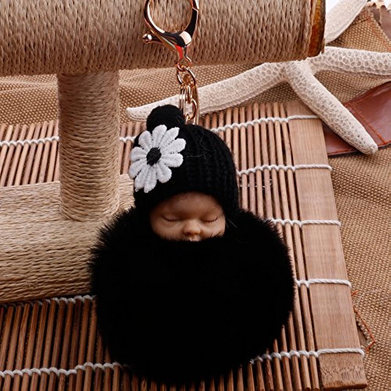 YipingクリエイティブキーリングGifts Plush BabyキーリングPurse Handバッグ車ペンダントキーチェーンギフト(ブラック)