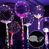 Wholehot 18インチ光るバルーン 5個入り透明発光風船  LEDライトバー 透明な波のボール ライト付き装飾球 クリスマス/結婚式/誕生日パーティー/お祭り/記念日/バレンタイン/ktv/バーの飾りに大活躍 ロマンチックな雰囲気満点
