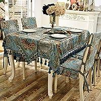 WENJUN テーブルクロス, 洋風のテーブルクロス椅子カバークッションセット、厚手の布レーステーブルクロスダイニングチェアカバー家の装飾、青、ベージュ (色 : Blue 4 seat cover, サイズ さいず : 210*150cm)