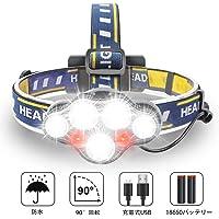 Karrong ヘッドライト led 充電式 ヘッドランプ - 軽量 IPX6防水 90度調節可能 高輝度 18650型バッテリー 夜釣り 停電時用 登山 アウトドア作業用