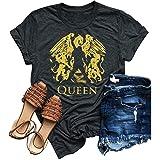 SurBepo Womens Vintage Queen Shirt Summer Cute Short Sleeve Casual Graphic Tees