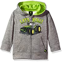 John Deere Baby-Boys JFJ787HT Fleece Zip Poly Hoody Hooded Sweatshirt - Gray