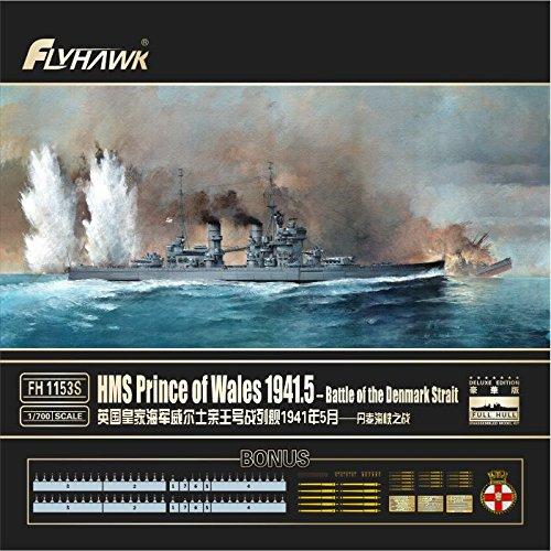 フライホークモデル 1/700 イギリス海軍 HMS 戦艦 プリンス・オブ・ウェールズ 1941年5月 (デンマーク海峡海戦時) 限定版 プラモデル