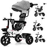4 in 1 Baby Walker Kids Trike Tricycle Bike Children Bicycle Ride On Toy Safety Fence Adjustable Seat Handlebar