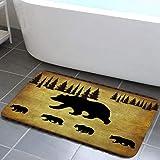 Animal Black Bear Design Bathroom Rug, Non Slip Bath Mat with Black Bear Forest Trees Rustic Cabin Bathroom Accessories Showe