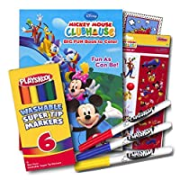 Mickey Mouse Colouring Book with Stickers and Markers 96 Page Colouring Book, Mickey Mouse Stickers Assortment, Washable Markers & Bonus Sticker