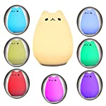 Children Night Light,Solmore LED Cute Silicone Cat Lamp,Kids Bedside Lights,Warm White/7-Colour Single/Color changing,USB...