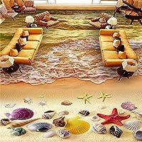 Wuyyii カスタム3D写真の壁紙日没黄金の砂の寝室のリビングルームの壁画のステッカー自己接着床の壁紙3D-120X100Cm