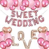 TYLANG ウェディング バルーン セット 結婚式 受付 飾り付け love ハート バルーン 飾り、ローズゴールド…