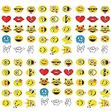 Qufan タトゥーシール ニコニコ 6枚セット Emoji タトゥーステッカー ボディーシール 刺青シール 防水 子供 レディース 腕、足、体、胸、肩、背中に簡単貼る TATOO