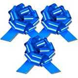 InstaBows Pull String Gift Bow Perfect for Christmas and Birthday Presents Satin Finish (Blue, 8 Inch)