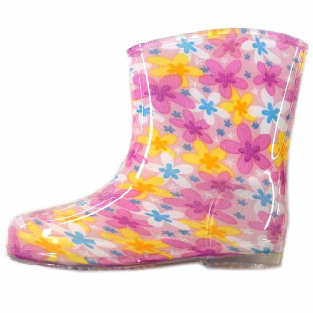 7cd7c8b96dfc3 レインブーツ 子供用 かわいい 長靴 男の子 男児 女の子 女児 pz-naga Mサイズ フラワー