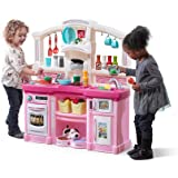 Step2 Fun with Friends Kitchen   Large Plastic Play Kitchen with Realistic Lights & Sounds   Pink Kids Kitchen Playset & 45-P